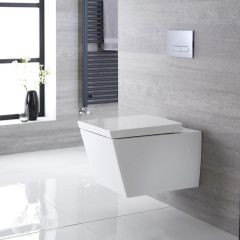 Sanitario Bagno WC Quadrato Sospeso 595x405x465mm con Sedile Copri WC Soft Close - Halwell