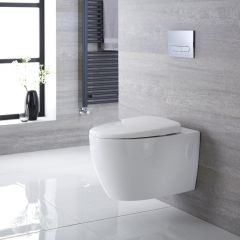 Sanitario Bagno WC Ovale Sospeso 610x420x480mm con Sedile Copri WC Soft Close  - Kenton