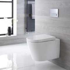 Sanitario Bagno WC Ovale Sospeso 600x390x450mm con Sedile Copri WC Soft Close - Exton