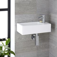Lavabo Bagno Sospeso in Ceramica Rettangolare 450x250mm - Sandford