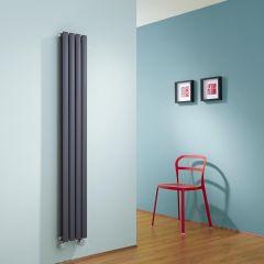 Radiatore di Design Elettrico Verticale Doppio - Antracite - 1600mm x 236mm x 78mm  - 2 Elementi Termostatici 600W  - Revive