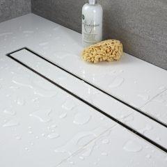 Kit completo con canaletta doccia lineare e griglia con inserto piastrellabile 800mm