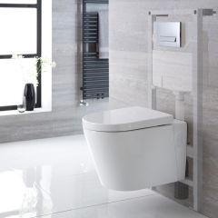 Sanitario Bagno WC Ovale Sospeso Completo con Coprivaso, Telaio con Cassetta ad Incasso con Placca di Comando per WC A Doppio Pulsante -  Exton