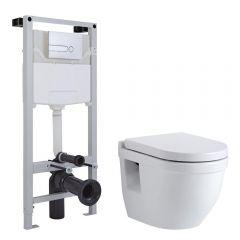 Sanitario Bagno WC Sospeso Ovale 400x360x515mm Completo con Sedile Copri WC Soft Close, Telaio con Cassetta ad Incasso con Placca di Comando per WC A Doppio Pulsante - Newby