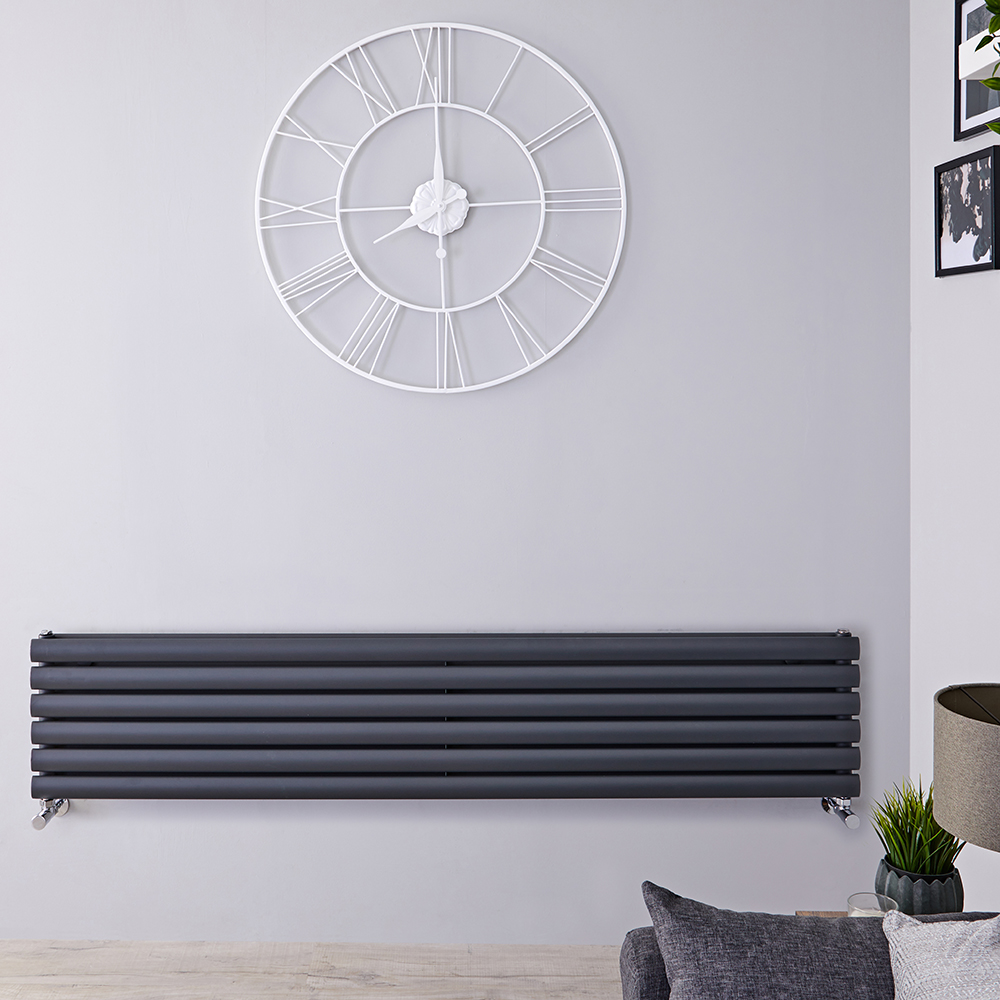 Radiatore di Design Orizzontale Doppio - Antracite - 354mm x 1600mm x 78mm - 1101 Watt - Revive