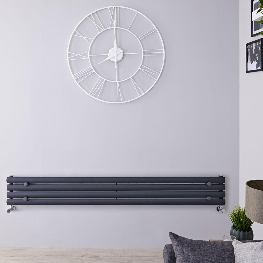 Radiatore di Design Orizzontale  - Antracite - 236mm x 1600mm x 56mm - 518 Watt - Revive