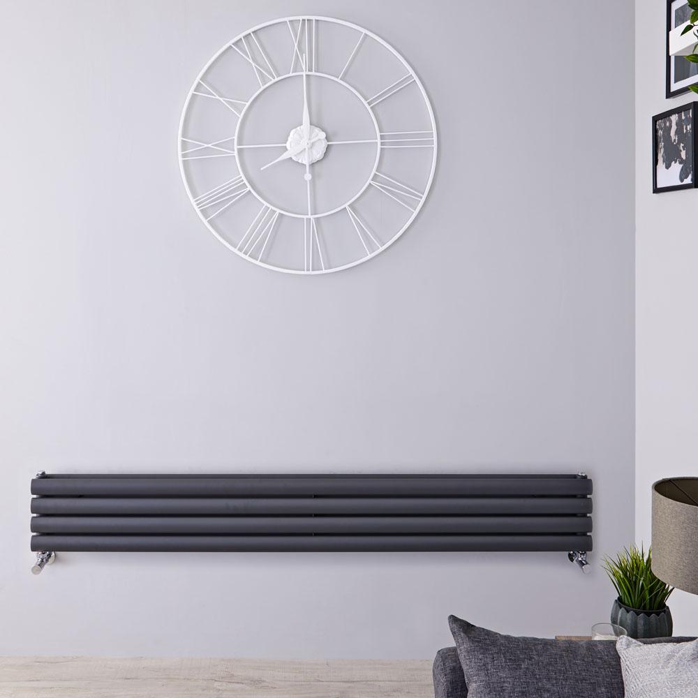 Radiatore di Design Orizzontale Doppio - Antracite - 236mm x 1600mm x 78mm - 815 Watt - Revive