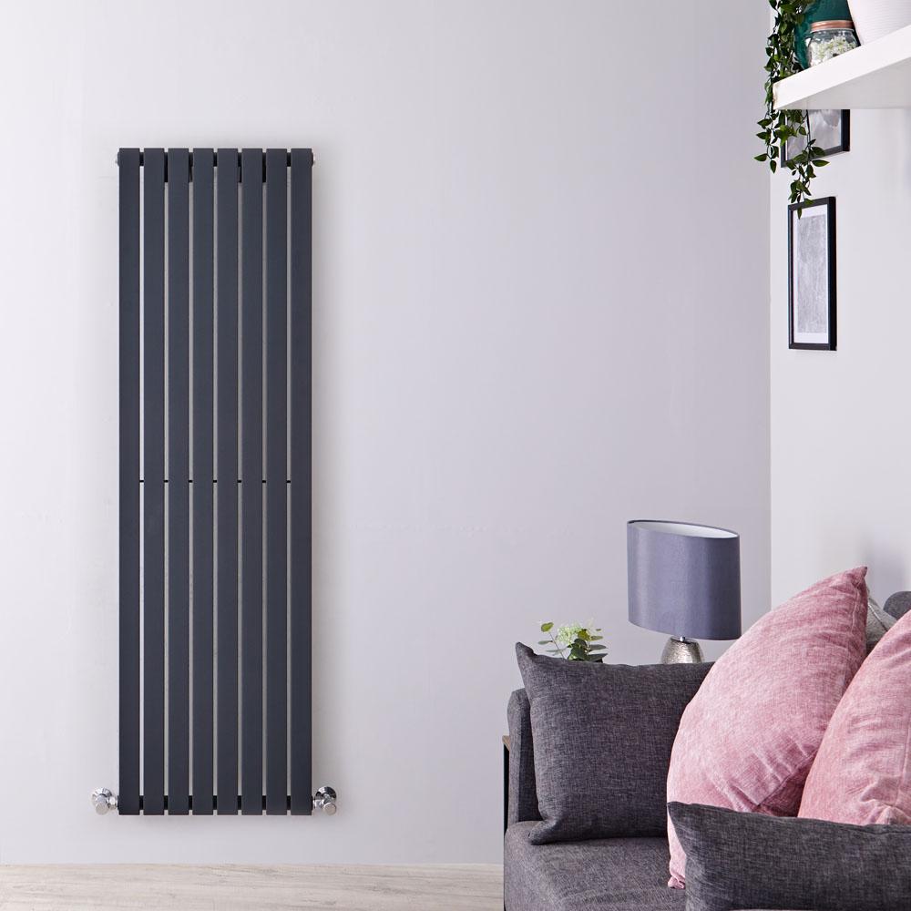Radiatore di Design Verticale - Antracite - 1600mm x 472mm x 54mm - 1149 Watt - Sloane