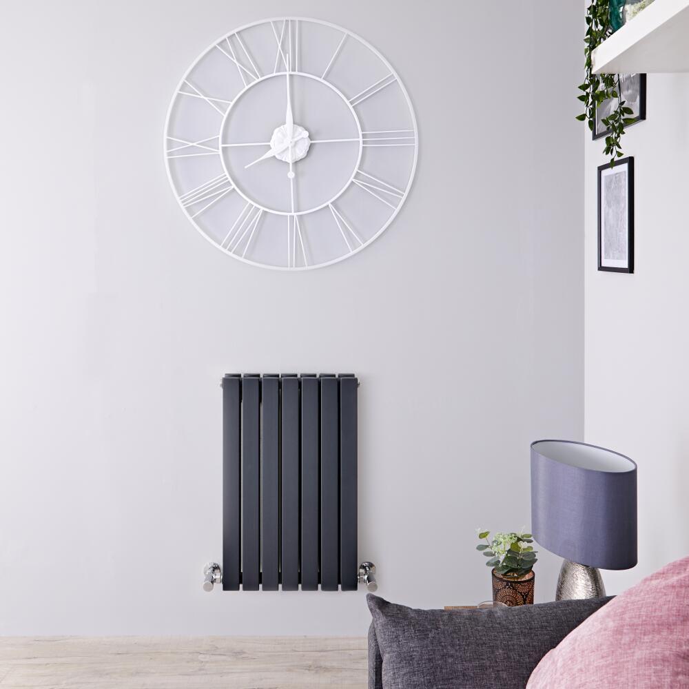 Radiatore di Design Orizzontale Doppio - Antracite - 635mm x 420mm x 71mm - 653 Watt - Sloane