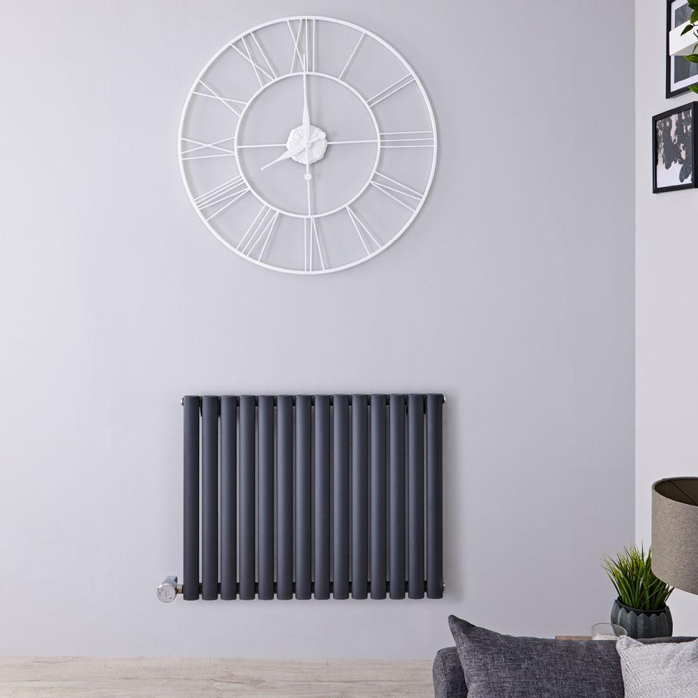 Radiatore di Design Elettrico Orizzontale - Antracite - 635mm x 834mm x 56mm  - Elemento Termostatico 1000W  - Revive