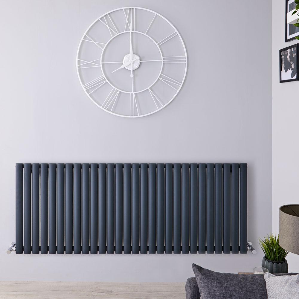 Radiatore di Design Orizzontale - Antracite - 635mm x 1647mm x 56mm - 1671 Watt - Revive