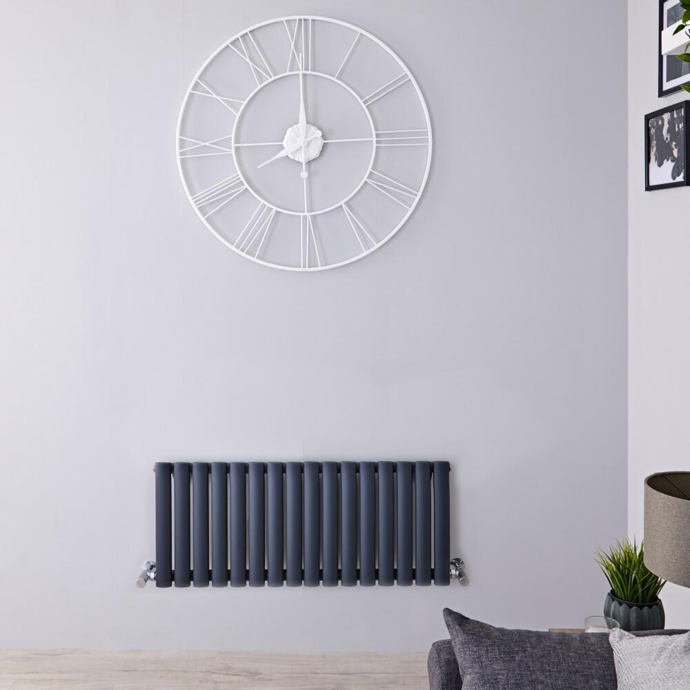 Radiatore di Design Orizzontale - Antracite - 400mm x 1000mm x 56mm - 691 Watt – Revive
