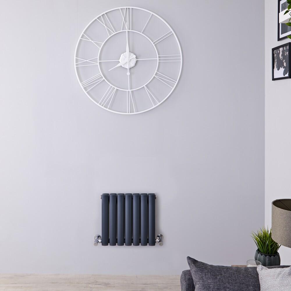 Radiatore di Design Orizzontale Doppio - Antracite - 400mm x 415mm x 78mm - 433 Watt – Revive