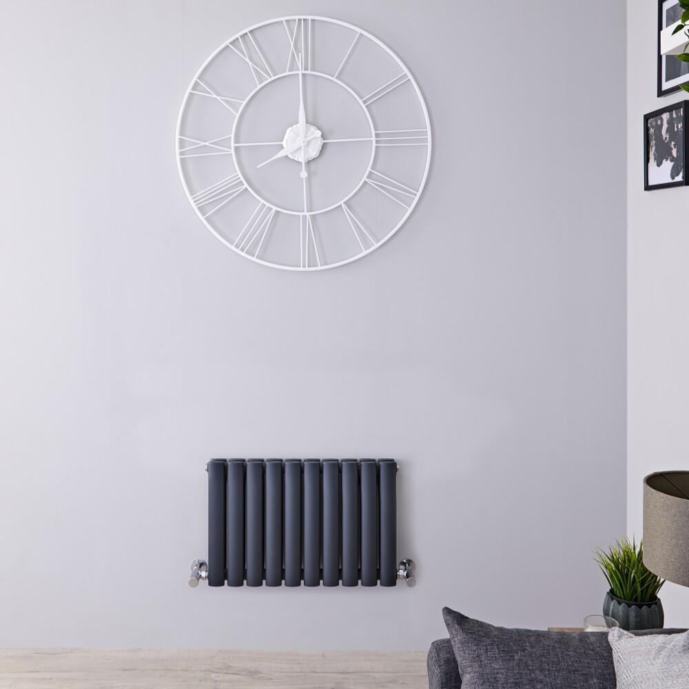 Radiatore di Design Orizzontale Doppio  - Antracite - 400mm x 595mm x 78mm - 619 Watt – Revive