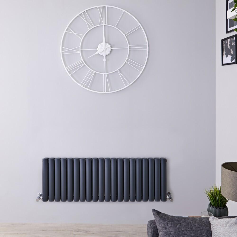 Radiatore di Design Orizzontale Doppio - Antracite - 400mm x 1180mm x 78mm - 1238 Watt – Revive
