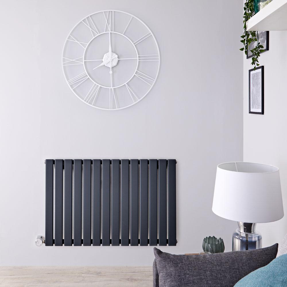 Radiatore di Design Elettrico Orizzontale - Antracite - 635mm x 980mm x 46mm  - Elemento Termostatico  800W  - Delta