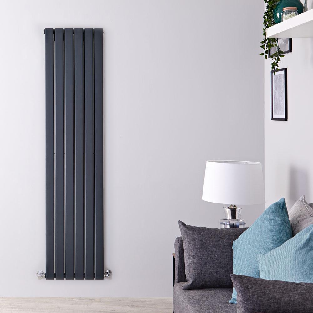 Radiatore di Design Verticale Doppio - Antracite - 1600mm x 420mm x 60mm - 1323 Watt - Delta