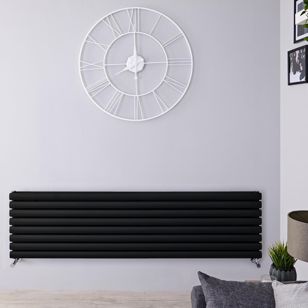 Radiatore di Design Doppio Orizzontale - Nero Opaco - 472mm x 1600mm x 78mm - 1611 Watt - Revive