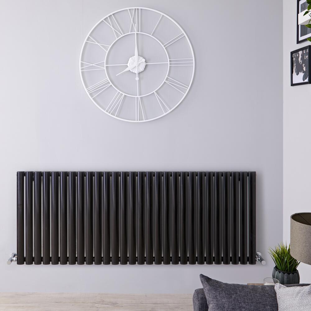 Radiatore di Design Orizzontale - Nero Lucido - 635mm x 1647mm x 56mm - 1671 Watt - Revive