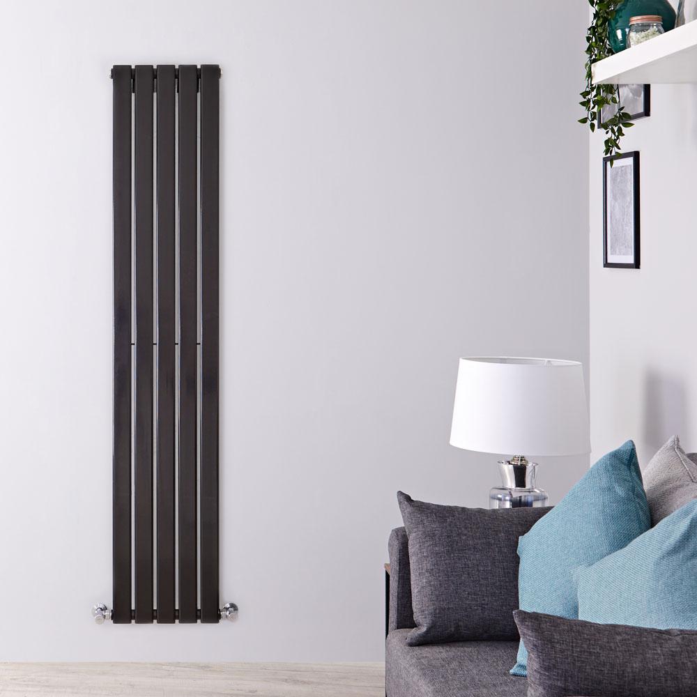 Radiatore di Design Verticale - Nero Lucido - 1600mm x 350mm x 47mm - 733 Watt - Delta