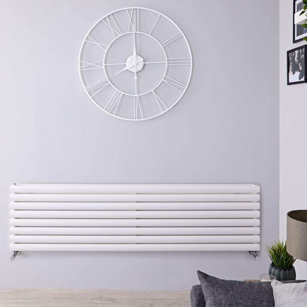 Radiatore di Design Orizzontale Doppio - Bianco - 472mm x 1600mm x 78mm - 1611 Watt - Revive