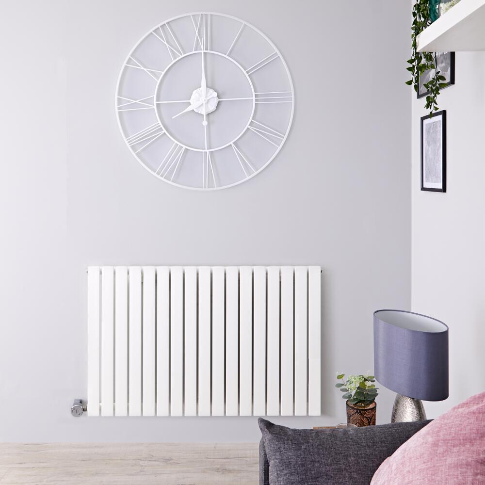 Radiatore di Design Elettrico Orizzontale - Bianco - 635mm x 1000mm x 54mm  - 1 Elemento Termostatico 1200W  - Sloane