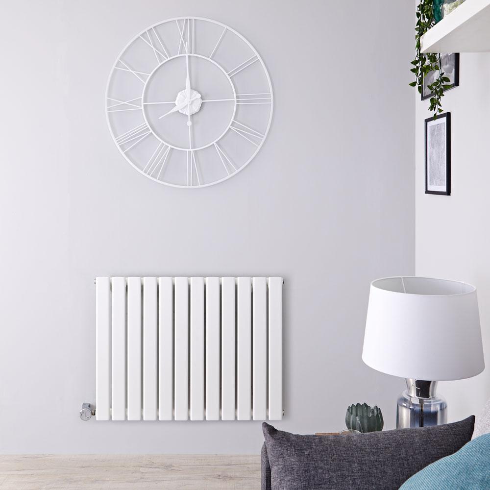Radiatore di Design Elettrico Orizzontale - Bianco - 635mm x 840mm x 46mm  - Elemento Termostatico  800W  - Delta