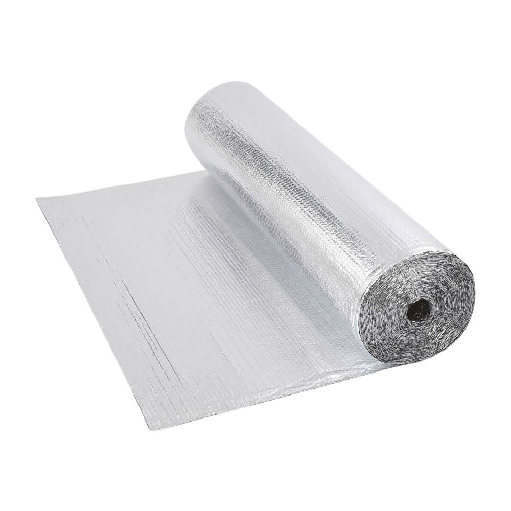 Isolante termico multistrato a bolle d'aria con due fogli di alluminio - 25m x 1,2m