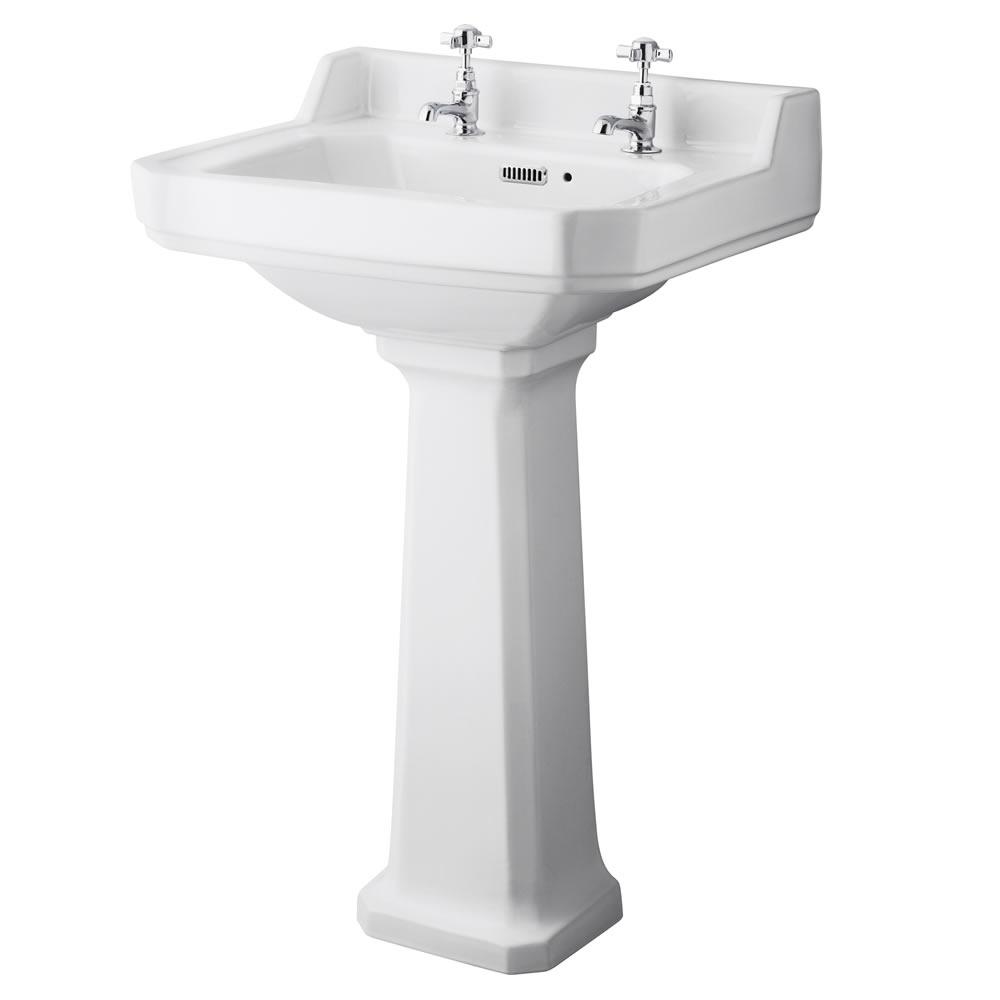 Set Bagno Completo di Lavabo e Sanitario Stile Retro con Scelta di Sedili Copri WC