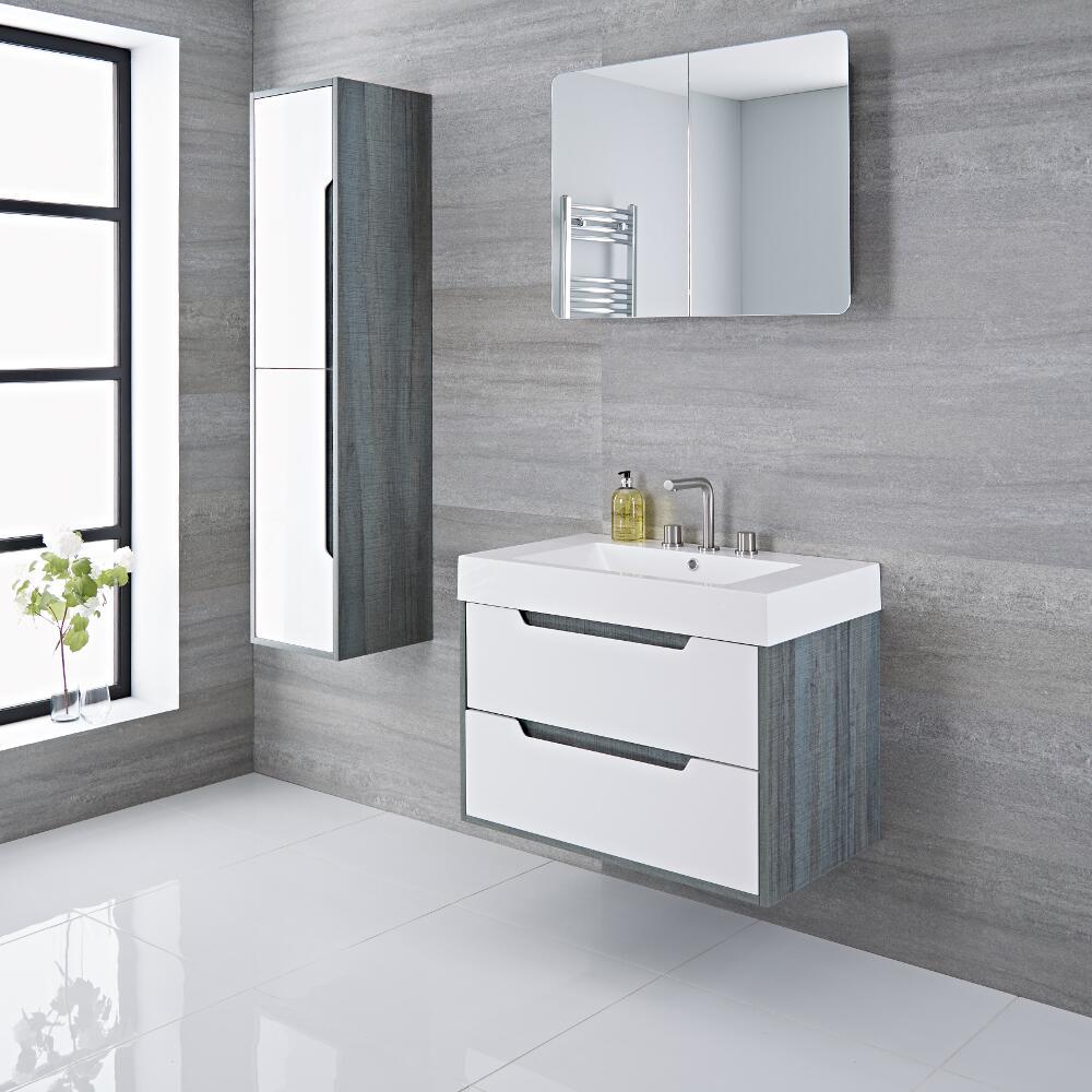 Mobile Bagno Colore Bianco Laccato 800x600mm con Lavabo Integrato - Newport