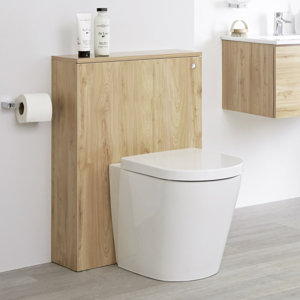 Mobile WC 600mm Colore Rovere Dorato Opaco Completo di Placca di Comando, WC e Cassetta - Newington
