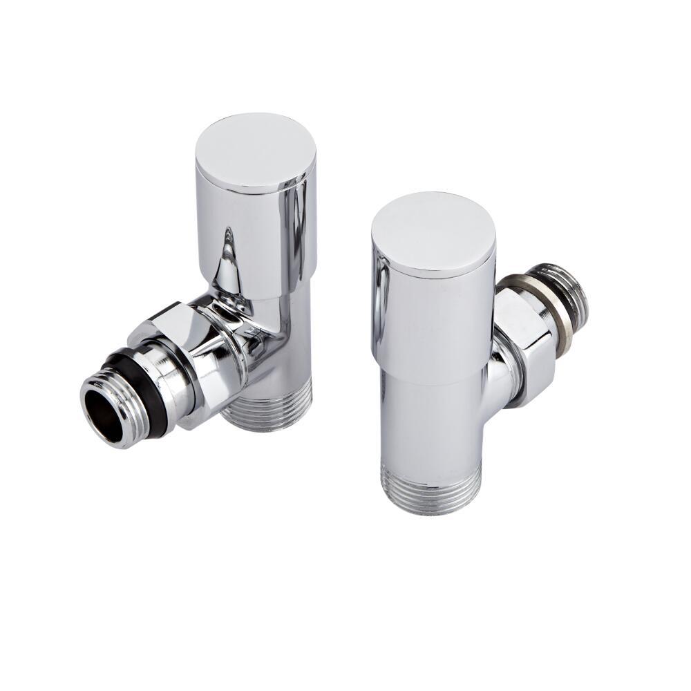 Paio di Valvole Termostatiche a Squadra con Adattatore per Radiatori e Scaldasalviette per Tubi Multistrato 16mm