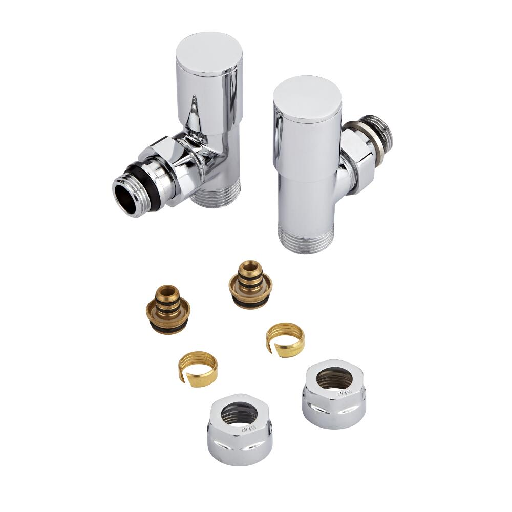 Coppia di Valvole a Squadra per Radiatori e Scaldasalviette con Adattatore Multiplo per Raccordi Pex o Multistrato 16mm