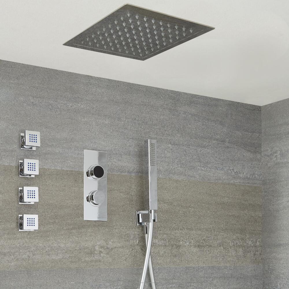 Doccia Digitale con Sistema di Controllo a 3 Vie con Soffione Doccia Quadrato da Incasso 280x280mm, 4 Idrogetti e Doccetta - Narus
