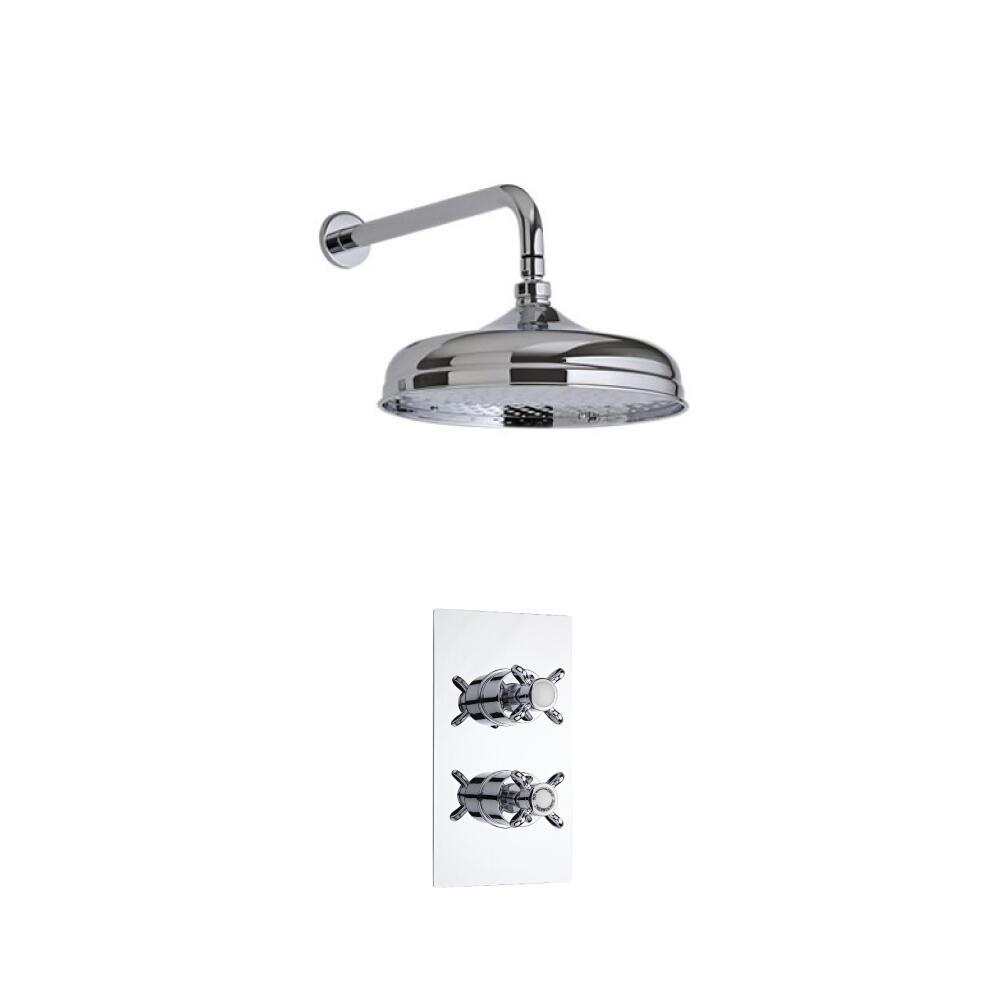 Kit Doccia Tradizionale Completo di Miscelatore Doccia Termostatico Incasso ad Una Via, Soffione Doccia Classico 150mm e Braccio Doccia
