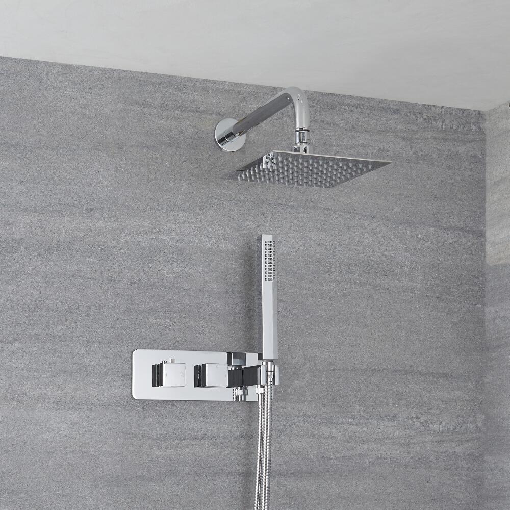 Miscelatore Doccia Incasso Quadrato a 2 Vie con Deviatore Integrato con Soffione 200mm e Doccetta - Arvo