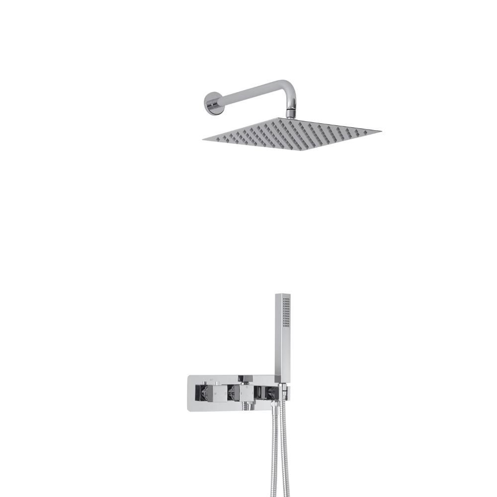 Miscelatore Doccia Incasso a 2 Vie con Design Quadrato, Deviatore Integrato con Soffione 300mm e Doccetta - Arvo