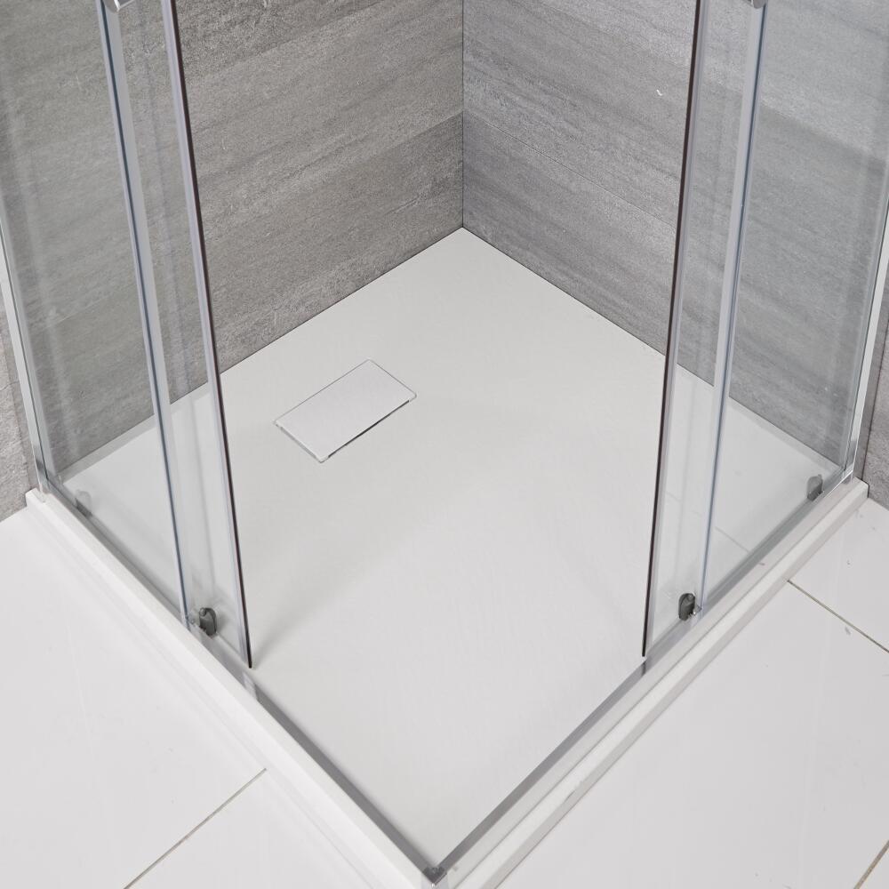 Piatto Doccia Quadrato Effetto Pietra Colore Bianco Opaco 800mm