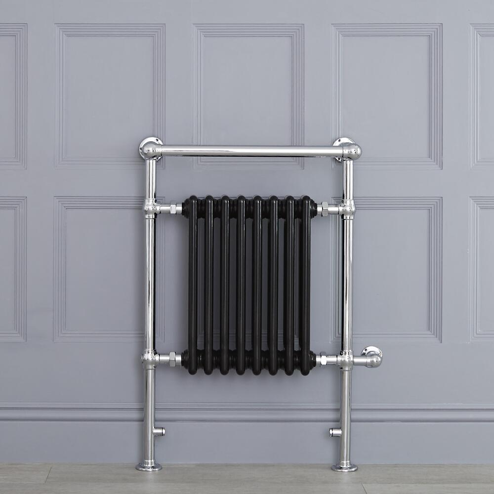 Radiatore Scaldasalviette Elettrico Tradizionale - Elemento Elettrico 600 Watt - Nero - 930mm x 620mm (Barra Porta Salviette Angolare) - Avon