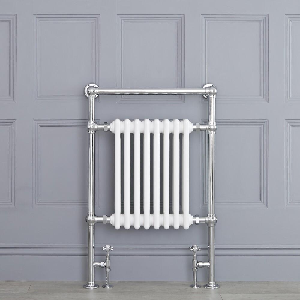 Radiatore Scaldasalviette Tradizionale - Cromato e Bianco - 930mm x 620mm x 155mm - 751 Watt - Marchesa