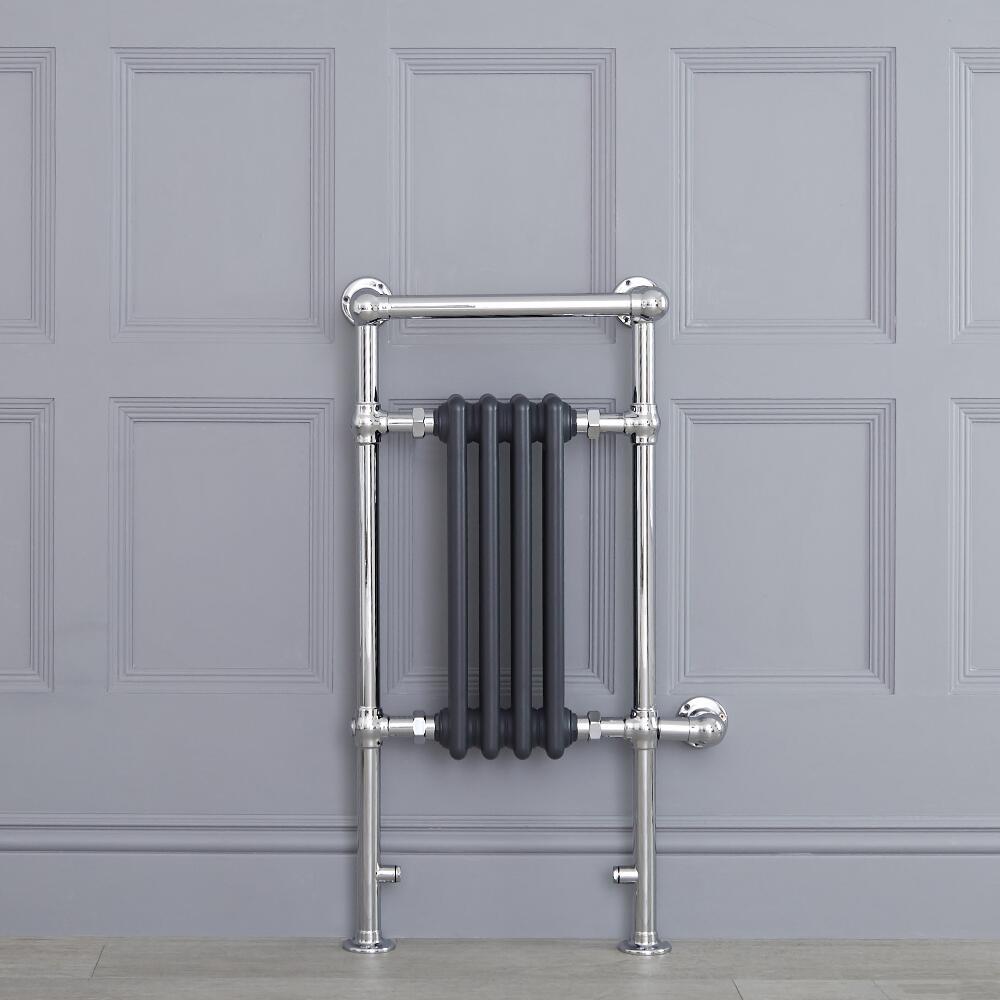 Radiatore Scaldasalviette Elettrico Tradizionale - Elemento Elettrico 400 Watt - Antracite - 930mm x 452mm (Barra Porta Salviette Superiore) - Elizabeth