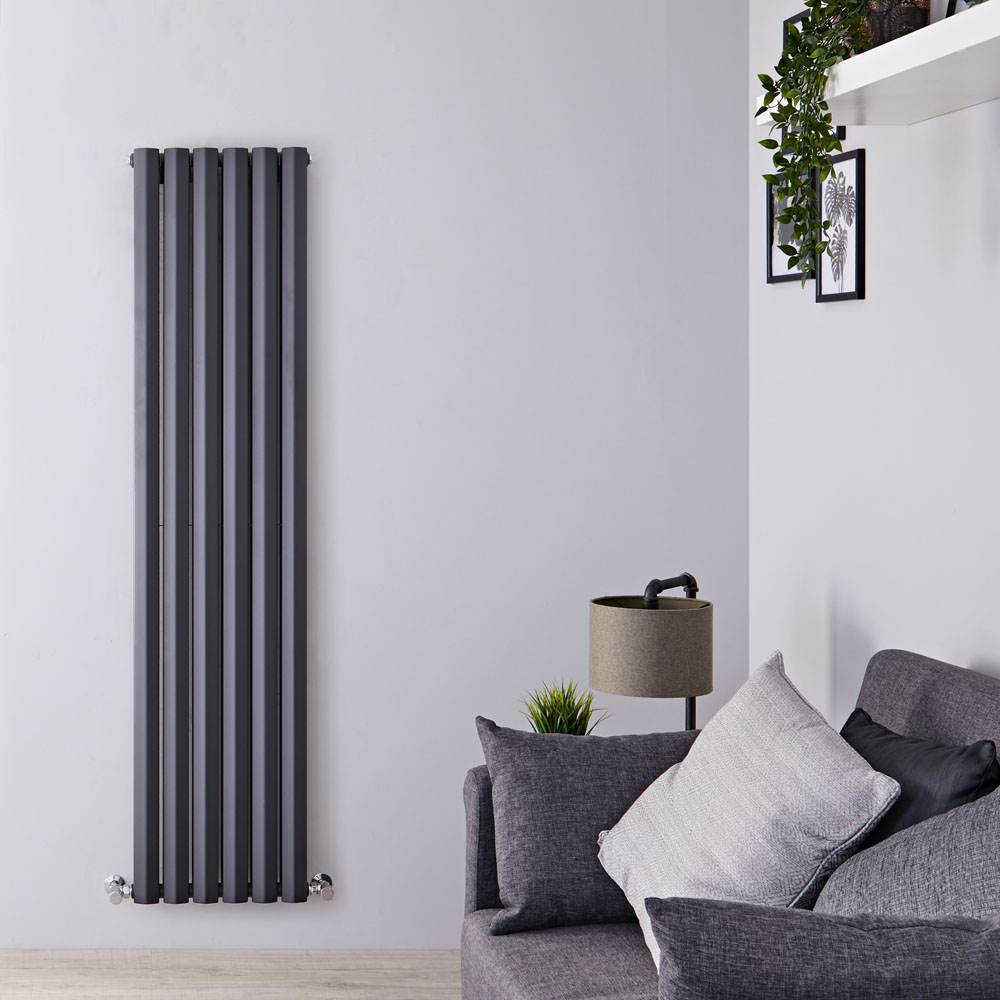 Radiatore di Design Verticale Doppio - Antracite - 1780mm x 420mm x 86mm - 1618 Watt - Rombo