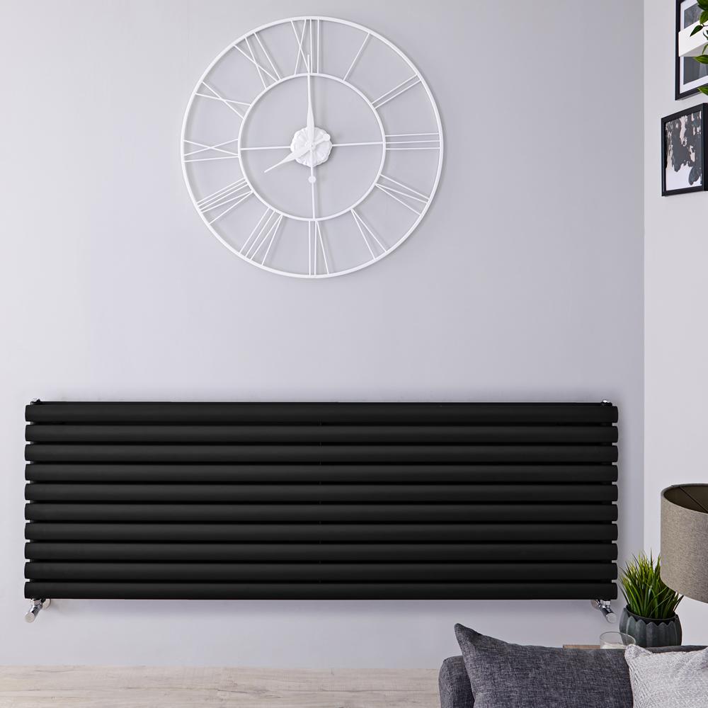 Radiatore di Design Orizzontale Doppio - Nero Opaco - 590mm x 1780mm x 78mm - 2066 Watt - Revive