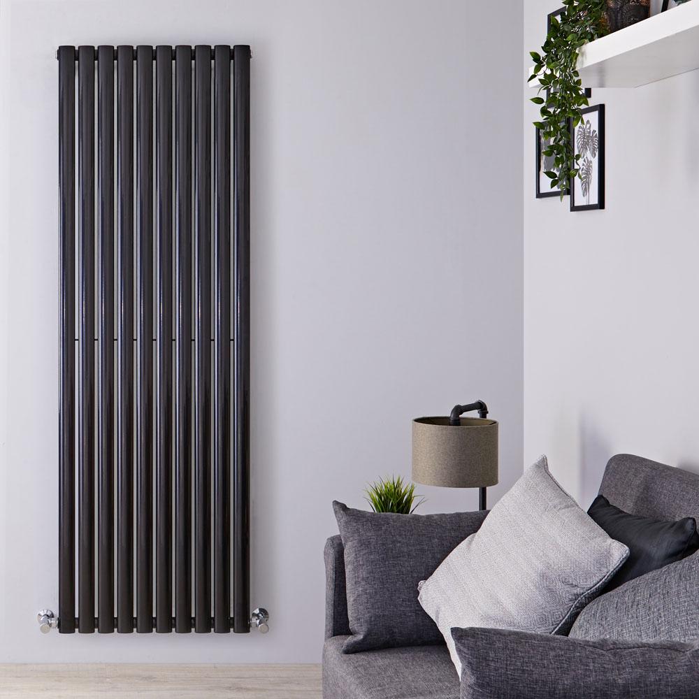 Radiatore di Design Verticale - Nero Lucido - 1780mm x 590mm x 55mm - 1487 Watt - Revive