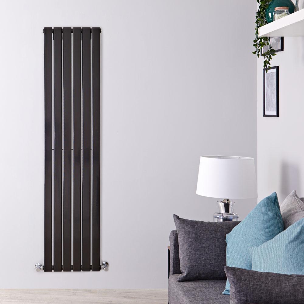 Radiatore di Design Verticale - Nero Lucido - 1780mm x 420mm x 47mm - 987 Watt - Delta