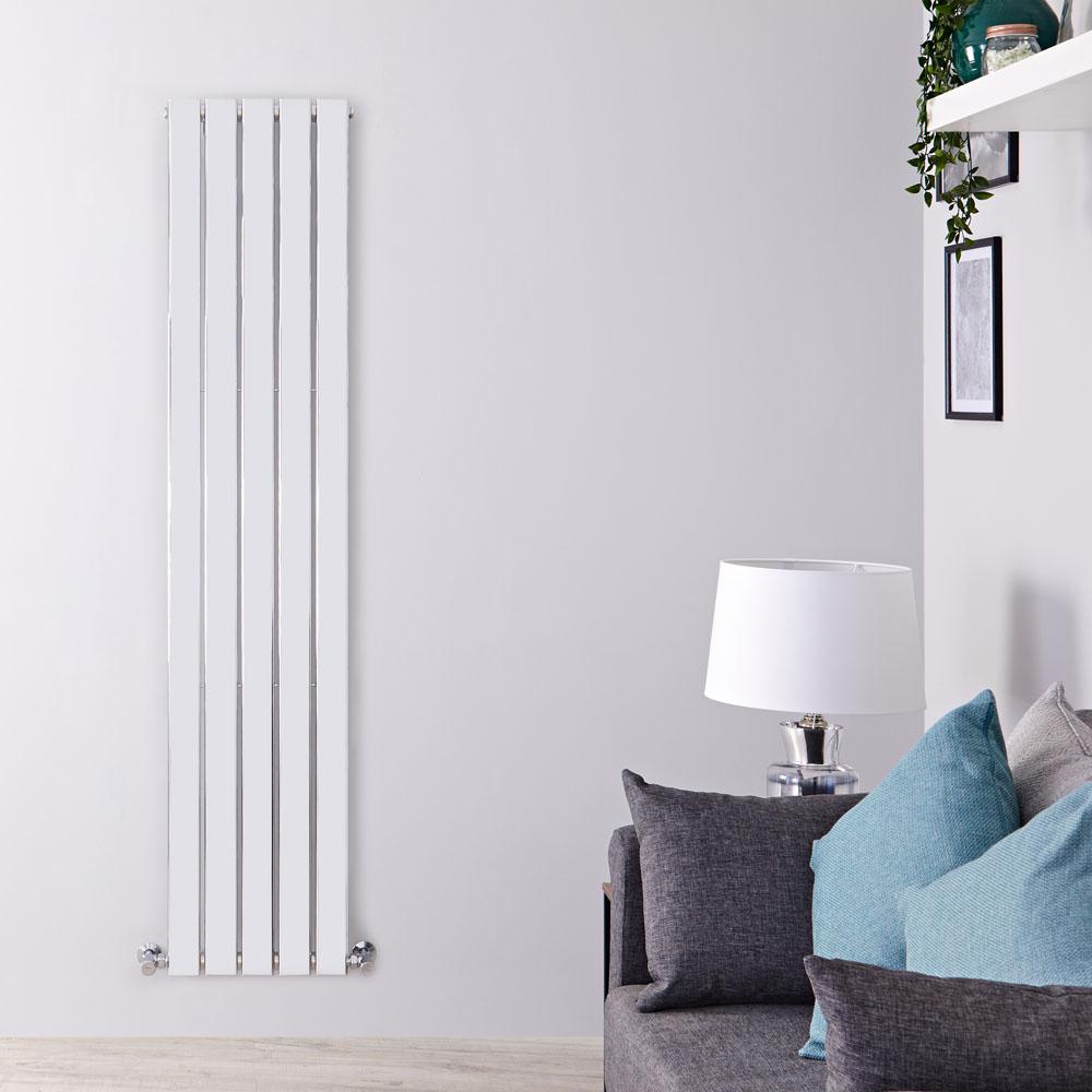 Radiatore di Design Verticale - Cromato - 1800mm x 375mm x 50mm - 556 Watt - Delta