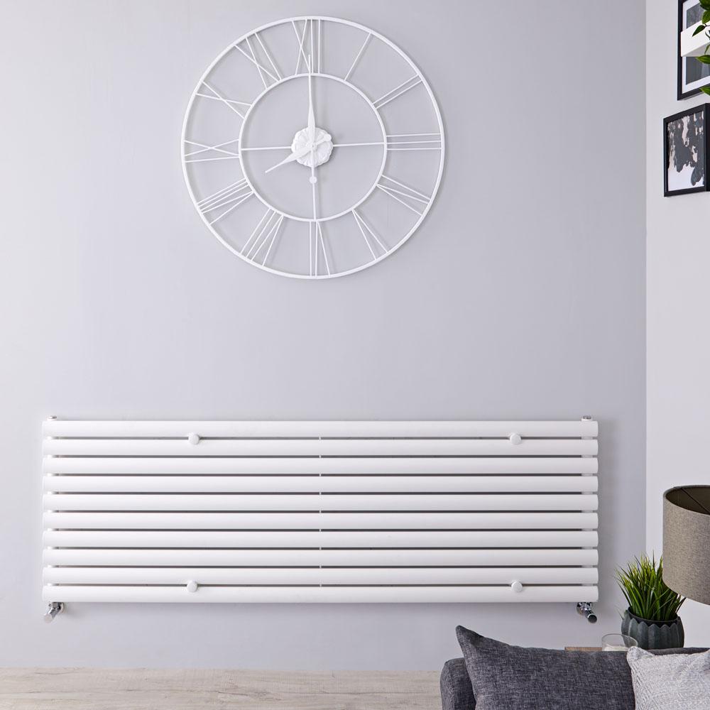 Radiatore di Design Orizzontale - Bianco - 590mm x 1780mm x 55mm - 1476 Watt - Revive