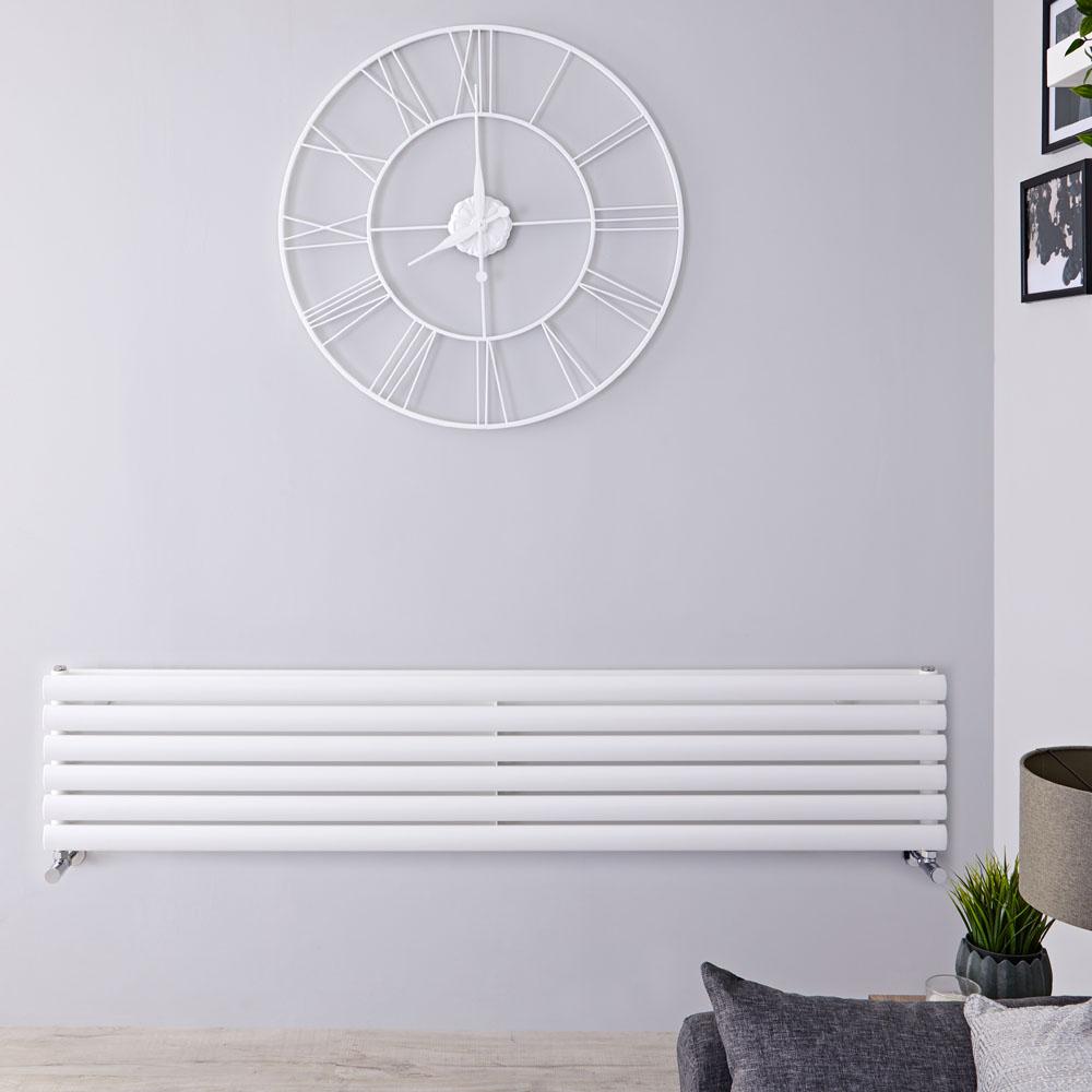 Radiatore di Design Orizzontale Doppio - Bianco - 354mm x 1780mm x 78mm - 1325 Watt - Revive