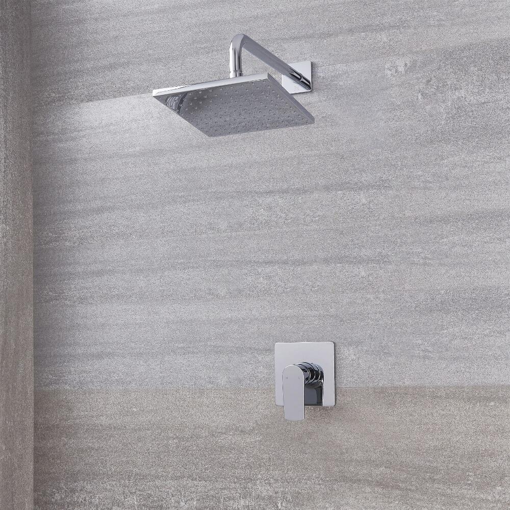 Kit Doccia con Finitura Cromata Completo di Miscelatore Doccia Manuale ad 1 Via e Soffione Doccia Quadrato 300mm - Harting
