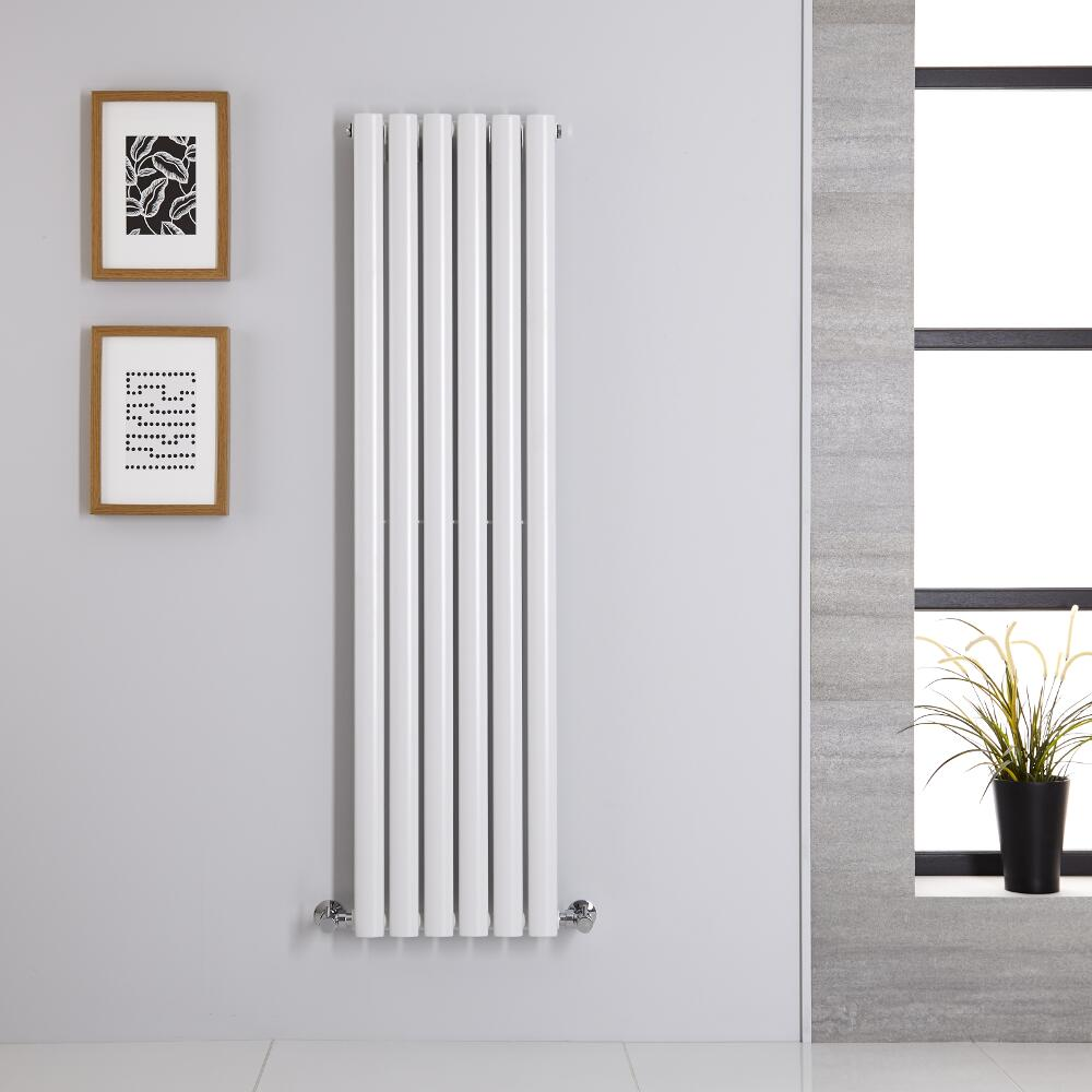 Radiatore di Design Verticale Doppio - Bianco - 1400mm x 354mm x 56mm - 686 Watt - Revive